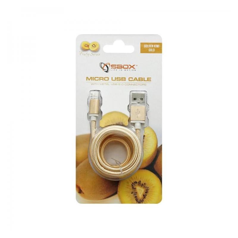 SBOX USB-10315G Kábel USB 2.0/MicroUSB zlatý