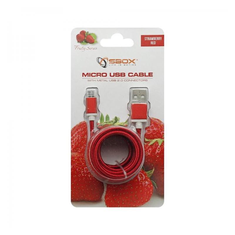 SBOX USB-10315R Kábel USB 2.0/MicroUSB červený