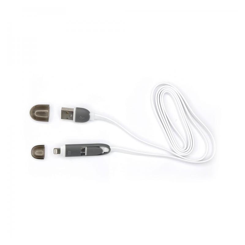 SBOX Kábel USB/Lightning, Micro USB 1m wht USB 2IN1W