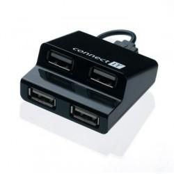 CONNECT IT USB HUB 4 porty STEP čierny SKITCI108