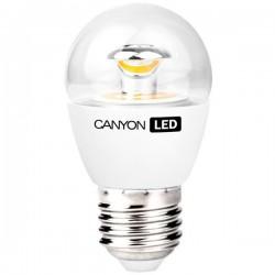 Canyon LED COB žiarovka, E27, kompakt guľatá priehľadn, 3.3W, 250 lm, teplá biela 2700K, 220-240V PE27CL3.3W230VW