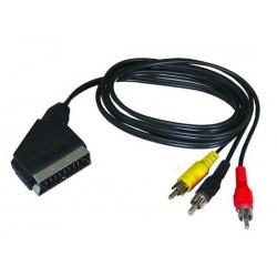 Solight SCART kábel, SCART konektor - 3x CINCH konektor, prepínateľný, 1m, sáčok SSV0301E