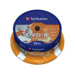 Verbatim - DVD-R 4,7GB 16x Printable 25ks v cake obale SKITVERB43538S