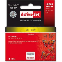 ActiveJet ink cartr. Canon CLI-526Y - 10 ml - 100% NEW (WITH CHIP) ACC-526Y EXPACJACA0108