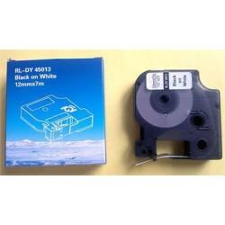 Kompatibilná páska DYMO 45013 D1 Black On White Tape (12mm) ECO-45013