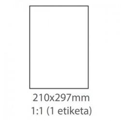 etikety ECODATA Samolepiace 210x297 univerzálne biele 1ks/A4 (100 listov A4/bal.) ECO-21029700/ZN