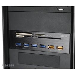 "AKASA AK-HC-07BK InterConnect EX 5.25"" PC bay, 5x USB 3.0 čítačka, 4x USB 3.0 HUB, Smart"