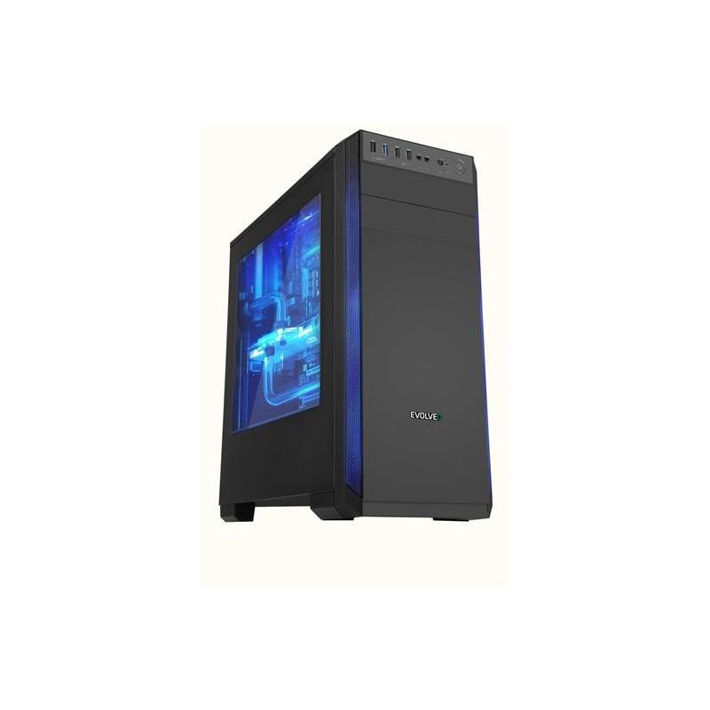 EVOLVEO T3, case ATX, 2x USB2.0 / 1x USB3.0 , 3x 120mm (modrý), černý s modrým podsvícením CAET3