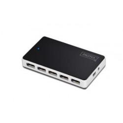 Digitus USB 2.0 hub 10-portů černý s napájecím zdrojem ( 5V , 4A ) DA-70229