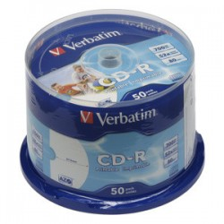 CD-R VERBATIM DTL+ Wide Printable non-ID 700MB 52X 50ks/cake*AZO 43438