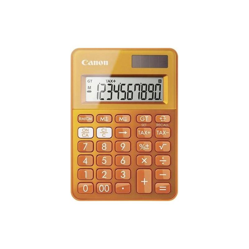 stolová kalkulačka CANON LS-100K oranžová, 10 miest, solárne napájanie + batérie 0289C004