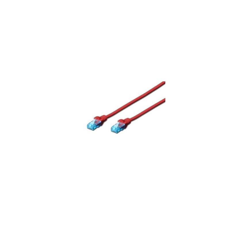Digitus Ecoline Patch Cable, UTP, CAT 5e, AWG 26/7, červený 1m, 1ks DK-1512-010/R