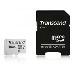 Transcend 16GB microSDHC 300S UHS-I U1 (Class 10) paměťová karta (s adaptérem) TS16GUSD300S-A