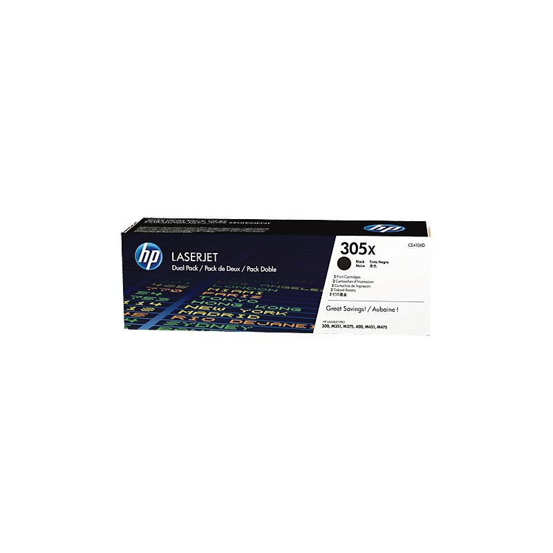 HP Dvojité balenie čiernych tonerových kaziet HP305X LaserJet CE410XD