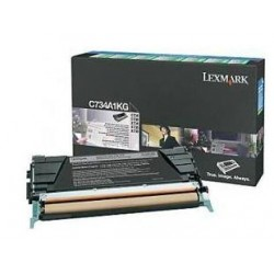Lexmark C734, C736, X734, X736, X738 Black Return Program Toner Cartridge, 8K C734A1KG