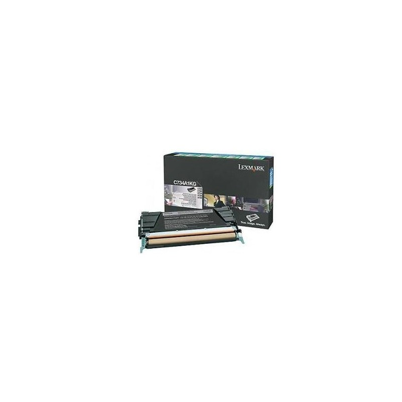 Lexmark C734, C736, X734, X736, X738 Black Return Program Toner Cartridge, 8K C734A1KG