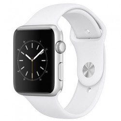 Apple Watch Series 1, 42mm Silver Aluminium Case with White Sport Band mnnl2cn/a