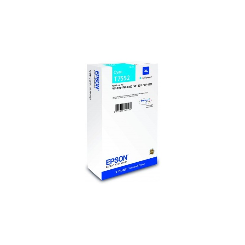 Epson atrament WF8000 series cyan XL - 39ml C13T755240