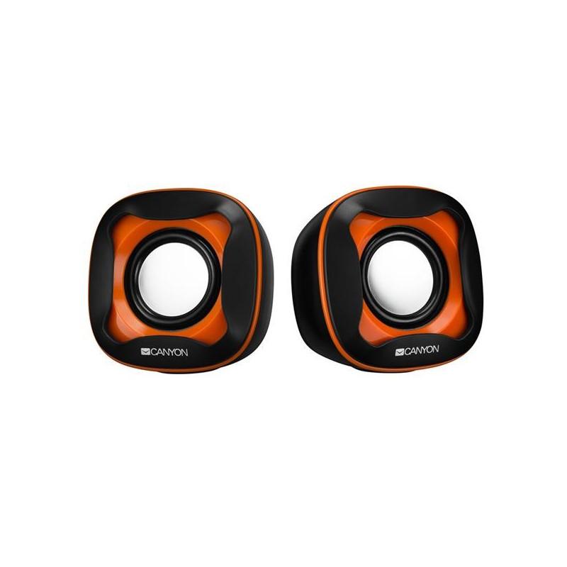 Canyon CNS-CSP202BO reproduktory 2.0, 2 x3W, USB napájanie, 3.5 mm mini-jack, čierno-oranžové