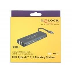 Delock USB Typ-C Port Replicator (HDMI 4K, Gigabit LAN )+hub USB with PD 87721