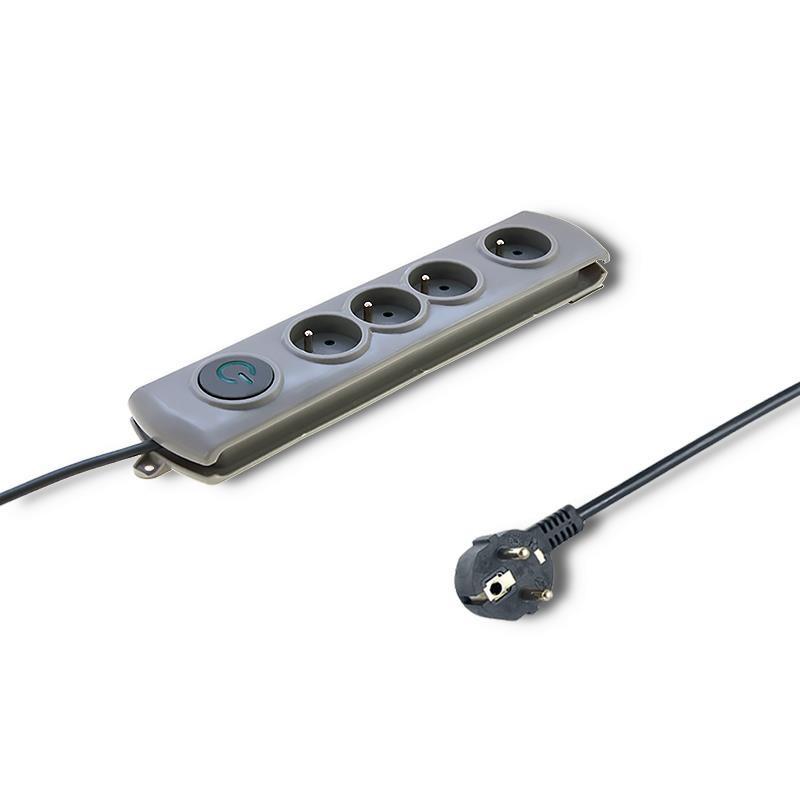 Qoltec Prepäťová ochrana Quick Switch (4 zásuviek), vypínač, gray | 1.5m 50163