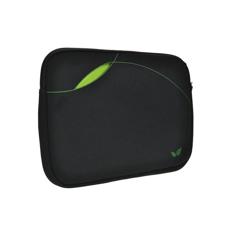 Solight neoprénové puzdro na notebook 14', kapsa bez zipsu, čierne/zelené 1N34