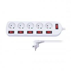 Solight predlžovací prívod, 5 zásuviek, biely, 6x vypínač, 3m PP144