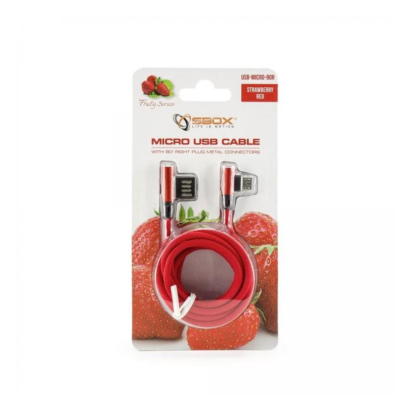SBOX Kábel USB 2.0/Micro USB 2.0 90stup. 1,5m red USB-MICRO-90R