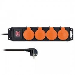 Solight 4z predlžovací prívod IP44, 3m, 3 x 1,0mm2, gumový kábel,...