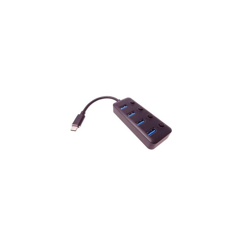 PremiumCord 5G SuperSpeed USB Hub Type C na 4x USB 3.1 A Gen1, vypínače portů ku31hub08
