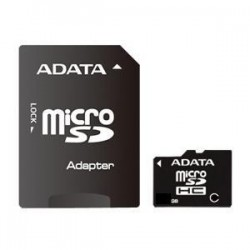 8 GB microSDHC karta A-DATA class 4 + adaptér AUSDH8GCL4-RA1