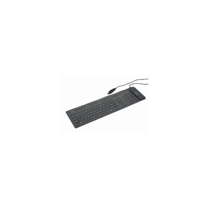 Gembird klávesnica KB109F ohybná , gélová, čierna USB+PS/2 GEMK109F