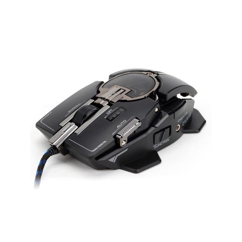 Zalman hráčska laserová myš ZM-GM4 - 8200DPI, program. 10tl., čierna, USB, mechanical design