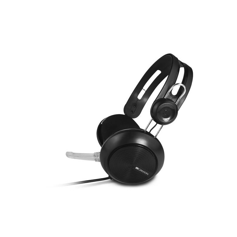 Canyon CNE-CHSU1B, USB Headset, slúchadla s mikrofónom, ovládanie na kábli, čierne