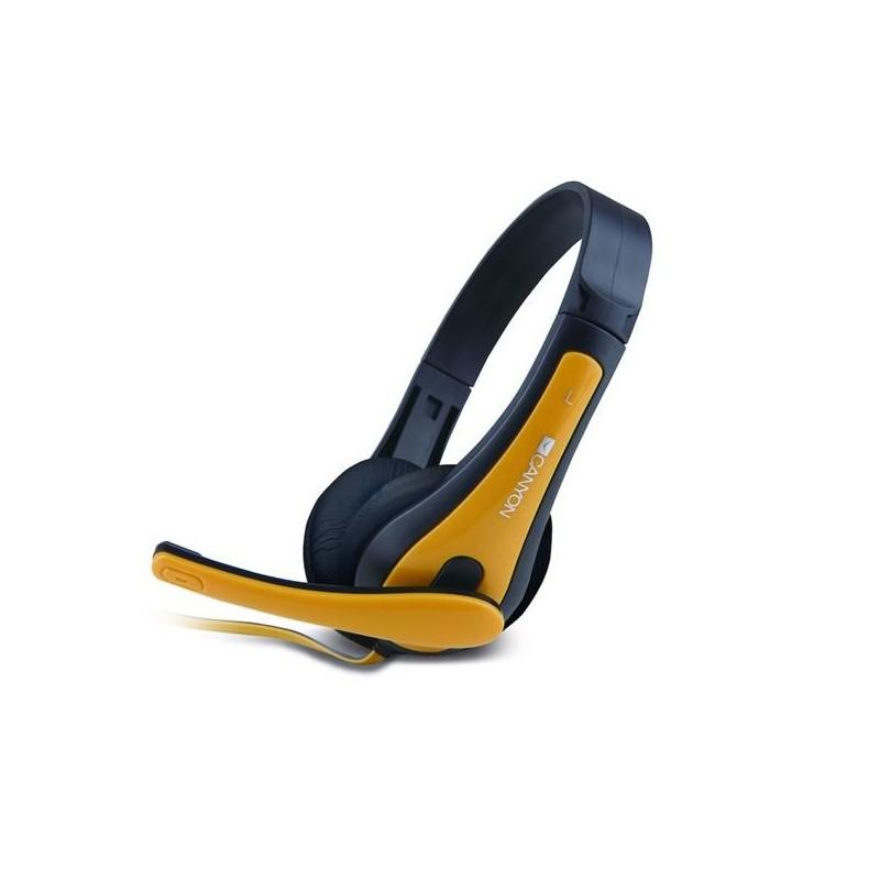 Canyon CNS-CHSC1BY, základný PC Headset, slúchadla s mikrofónom, 1 x 3,5mm jack, čierno-žlté