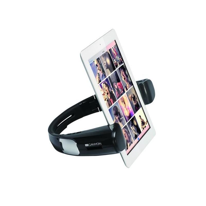 Canyon CND-TBTSP1B dizajnový Bluetooth + NFC bezdrôtový reproduktor kombinovaný so stojanom pre tablet, čierny