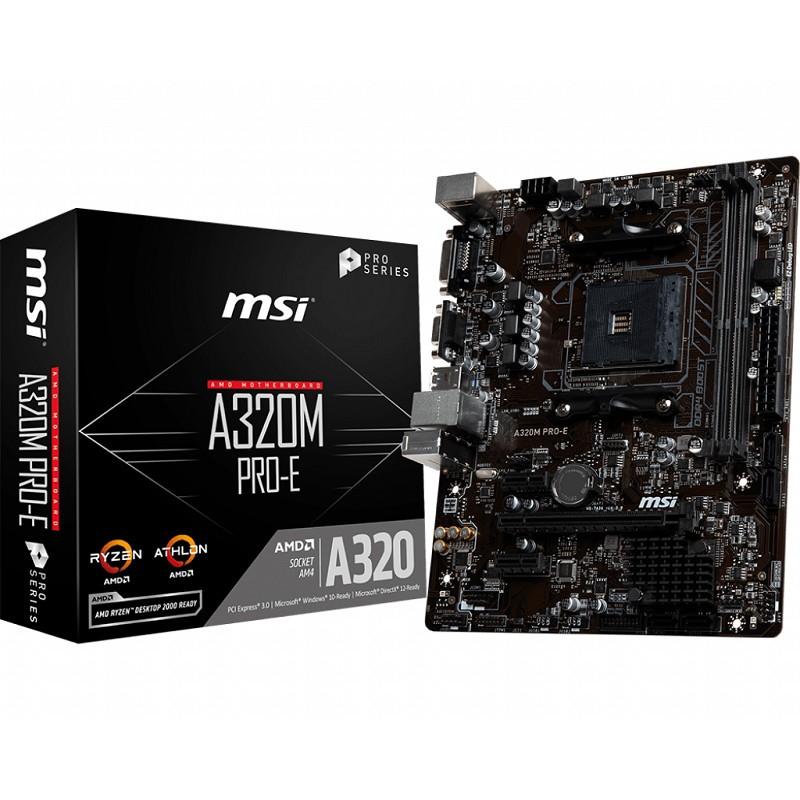 MSI A320M PRO-E, AM4, 2x DDR4, 2PCI-Ex1,4SATA3, 6USB3.1