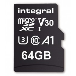 INTEGRAL Pamäťová karta micro SDXC 64GB 70V30, R:100MB/s W:70MB/s U3 V30 + ADAP INMSDX64G-100/70V30