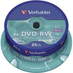 DVD-RW VERBATIM 4,7GB 4X 25ks/cake 43639
