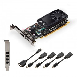 PNY NVIDIA Quadro P620, 2GB GDDR5 (128 Bit), 4x miniDP (4x miniDP to DP), LP VCQP620-PB