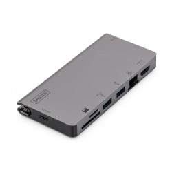 Universal Docking Station USB Type C, 8-port, 4K 30Hz, PD 3.0 HQ aluminium DA-70877