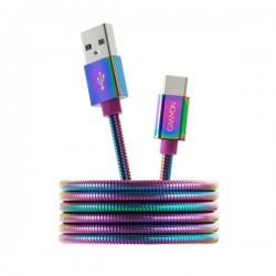 Canyon CNS-USBC7RW, 1.2 m kábel USB-C / USB 2.0, 5V/9V/2A, priemer 3.8 mm, metalicky opletený, dúhový