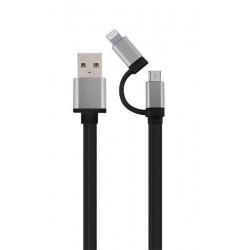 Gembird kábel 2v1 combo, Lightning 8-pin (M) / microUSB na USB 2.0 (M), 1 m, čierny kábel CC-USB2-AM8PmB-1M-SG